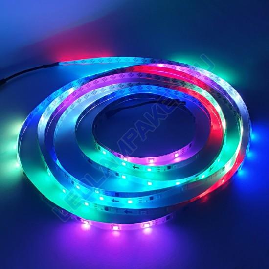 Futófényes RGB LED Szalag Tápegységgel, Bár, Disco, Pub, Night Club és Kirakat Világítás, 5m, Vízálló, 2 Év Garancia